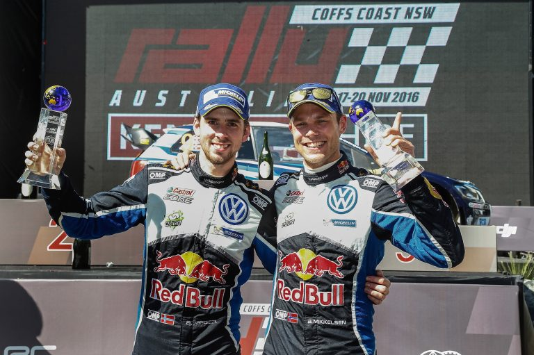 Anders Jæger (NOR), Andreas Mikkelsen (NOR) WRC Rally Australia 2016 Photo: Toni Welam